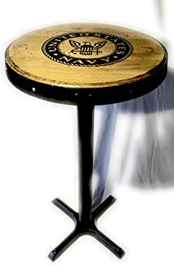 Bar Height Pub Table with Authentic Bourbon Barrel Head and Ring Fully Customizable