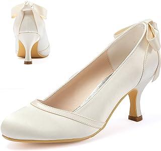 4bf7fab1a76c76 Elegantpark HC1804 Femme Bout Fermé Mi Talon Escarpins Arc Satin Chaussures  de Mariée de Mariage