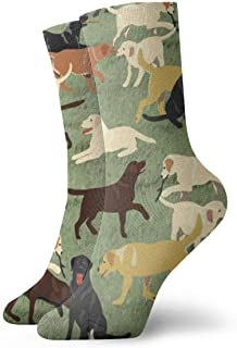 Hangdachang, Más labradores están buscando novedosos calcetines de compresión navideños para mujeres, calcetines informales para correr, calcetines deportivos para correr, invierno, gruesos y ligeros, tobillo alto