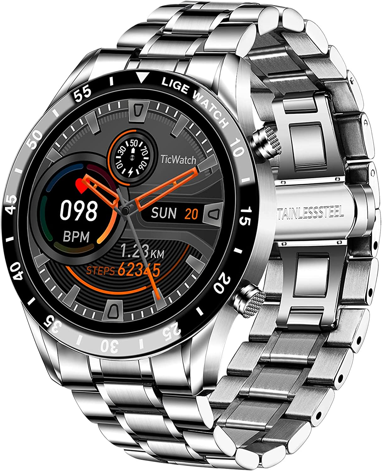 LIGE Smart Watch for Men Stylish, Fitness Trackers Waterproof with Heart Rate,...
