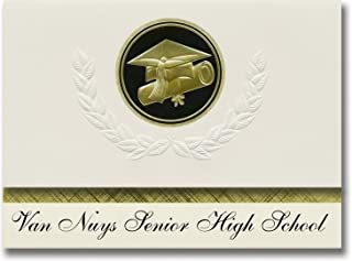 Signature Announcements Van Nuys Senior High School (Van Nuys, CA) Graduation Announcements, Presidential style, Elite package of 25 Cap & Diploma Seal. Black & Gold.