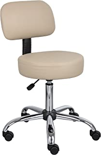Boss Office Products Be Well Medical Spa Stool with Back in Beige