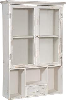 Biscottini vetrinetta vetrina piattaia bacheca da appendere a muro da parete mobile espositore shabby bagno libreria in legno da soggiorno L56xPR16xH79 cm