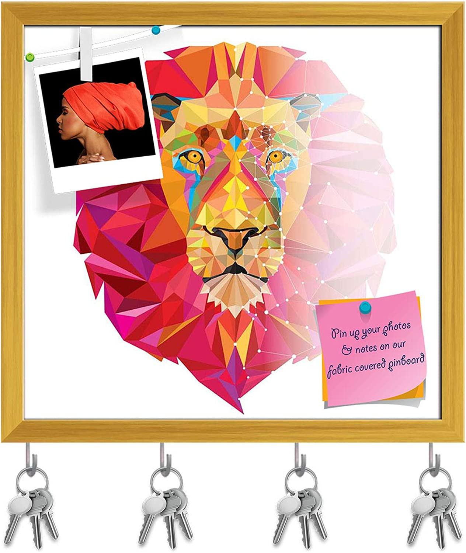 Artzfolio Lion Head in Geometric Pattern D3 Key Holder Hooks   Notice Pin Board   golden Frame 16.9 X 16Inch