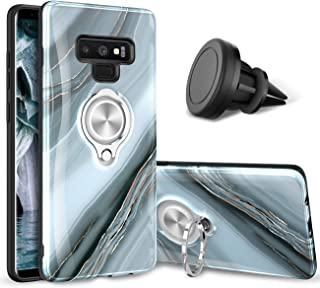 eSamcore Galaxy Note 9 case – Luxury Marble Ring Holder Phone Cases + Vent Car Phone Mount for Samsung Galaxy Note 9 [Granite Gray]