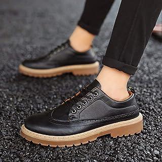 Spring New Low Help Martin Boots Plus Velvet Shoes Large Size Men's Shoes Leather Shoes (Color : 1806Black, Size : 40)