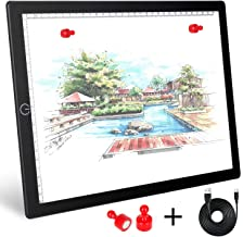 Magnetic A4 Light Box, LED Tracing Light Pad with Touch Button, Thin USB Powered Light Board with Adjustable Brightness for Tattoo Artists, Animation, Sketching, Stenciling, X-Ray Viewing