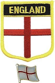 Parche bordado de bandera de Inglaterra para planchar con pin de metal esmaltado