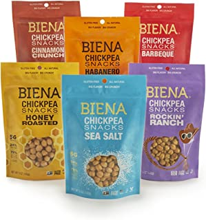 Biena Roasted Chickpea Snacks Variety Pack, 5 oz, 6 Count (PACKAGING AND FLAVOR MAY VARY)