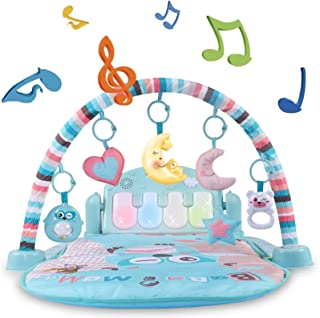 Baby Activity Play Mat, Kick and Play Piano Gym Center with Music and Lights, Baby Play mat Girls and Boys Ages 1 to 36 Mo...