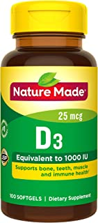 Nature Made Vitamin D3 1000 IU (25 mcg) Softgels, 100 Count for Bone Health† (Packaging May Vary)