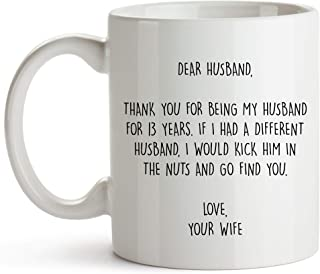 YouNique Designs 13 Year Anniversary Coffee Mug for Him, 11 Ounces, 13th Wedding Anniversary Cup for Husband, Thirteen Years