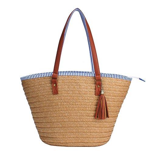 Sornean Straw Beach Bag Handbags Shoulder Bag Tote,Cotton Lining,PU Leather Handle-