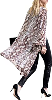 Women's Summer Long Flowy Kimono Cardigans Boho Chiffon Floral Beach Cover Up Tops
