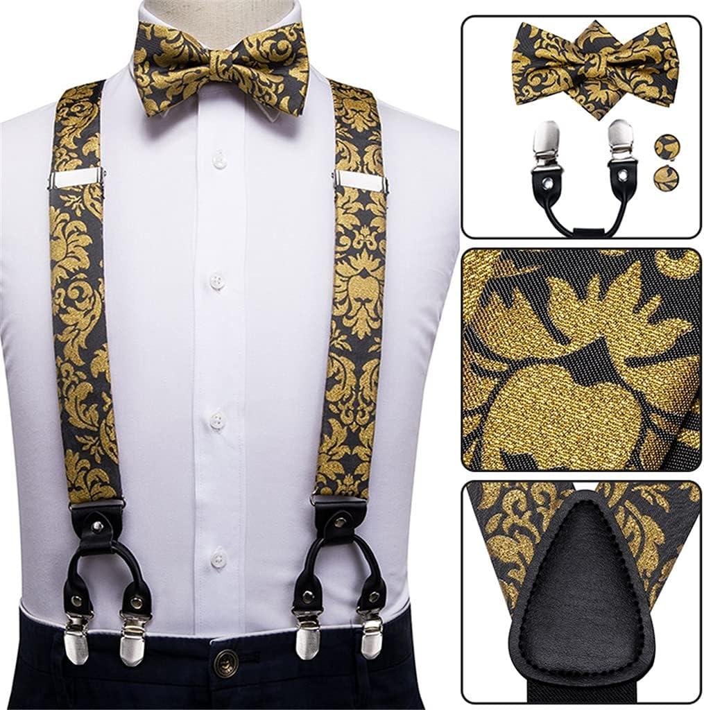 WSSBK Men Suspenders Set Leather Metal 6 Clips Braces Gold Floral Vintage Men's Fashion Elastic Wedding Suspenders (Color : A, Size : Adjustable)