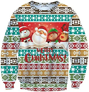 Christmas Men's Funny Ugly 3D Print Sweater Long Sleeve Round Neck Sweatshirt Pullover Top