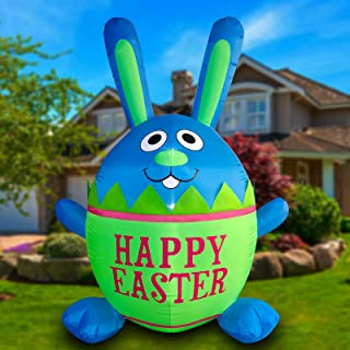 LAUJOY 8 Foot Easter Inflatable Bunny, Happy Easter Rabbit Egg LED Lighted Outdoor Indoor Holiday Party Decoration Blow up...