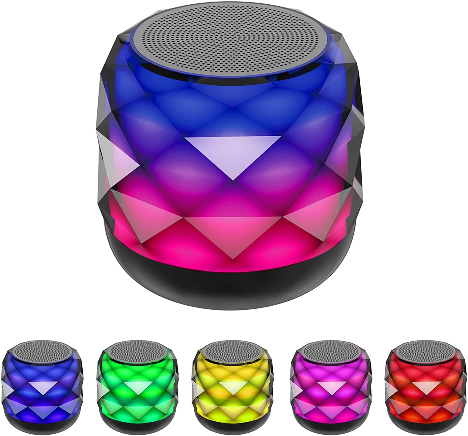 Wireless Bluetooth Speaker with LED Night Light Changing, Portable Speaker 6 Color LED Themes, Support Handsfree Call,MicroSD and iPhone Sumsung Cellphone (Black)…
