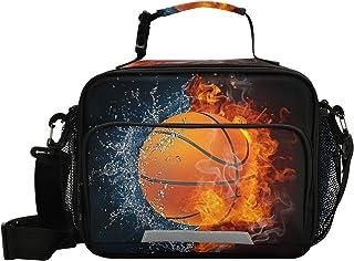 PUXUQU Kids Lunch Bag Basketbal Bal op Vuur en Water Vlam Geïsoleerde Lunch Box met Riem Side Mesh Pocket Snack Box Tote K...