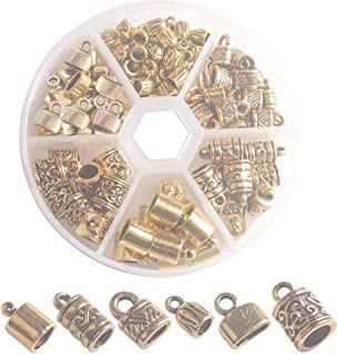 ChangJin One Box of 100PCS Antiqued Gold Metal Cord End Caps for Jewelry Making Leather Art