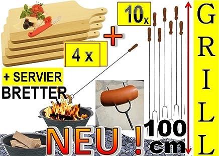 10x Picknickset Grillspieße  4x Holzbrett Picknick, Schneidebrett 42 x 22cm, Lagerfeuer-W&uu ;rstchenspiesse, Grillspiess, Gem&uu ;se grillen, ideal f&uu ;r Grillfest, Gartenparty, Geburtstag, Outdoor,f&uu ;r Feuerschale, Feuerk&ou ;rbe, Pickni