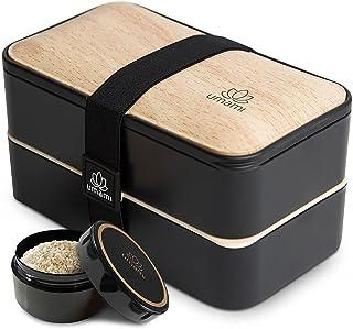 UMAMI Bento Box voor volwassenen en kinderen, nieuwe premium editie, 1 sauspot & 4 bestek, lunchtrommel voor mannen/vrouwe...