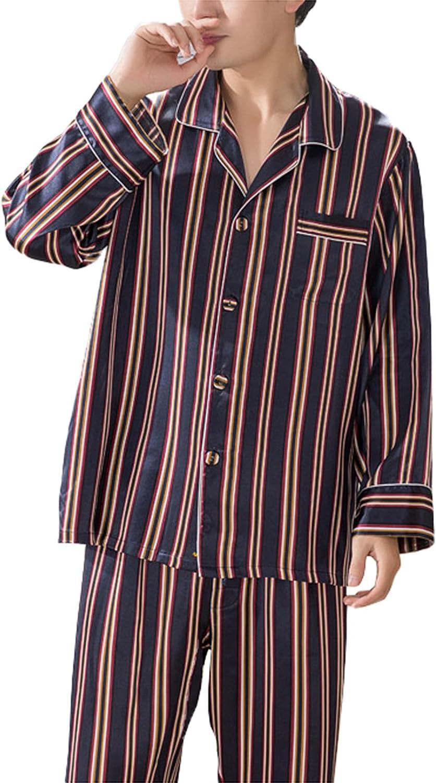 LZJDS Men's Summer Thin Silk Pajamas Striped Nightshirts Sleepwear Two-Piece Long-Sleeved Trousers Pjs Set,Stripes,XXL