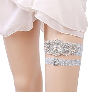 481ec5dcdd8 OURIZE Wedding Garters for Bride Lace Garter Belt Bridal Garter Set with  Rhinestones