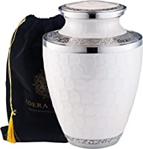 Adera Dreams Adult Cremation Urn for Human Ashes - Pearl White Large Funeral Urn with Velvet Pouch - Full Size Burial Urn for Cremains