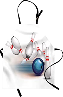 Ambesonne Bowling Party Apron, Thrown Ball and Scattered Pins Speed Hit The Target Shot Score, Unisex Kitchen Bib with Adjustable Neck for Cooking Gardening, Adult Size, White Blue
