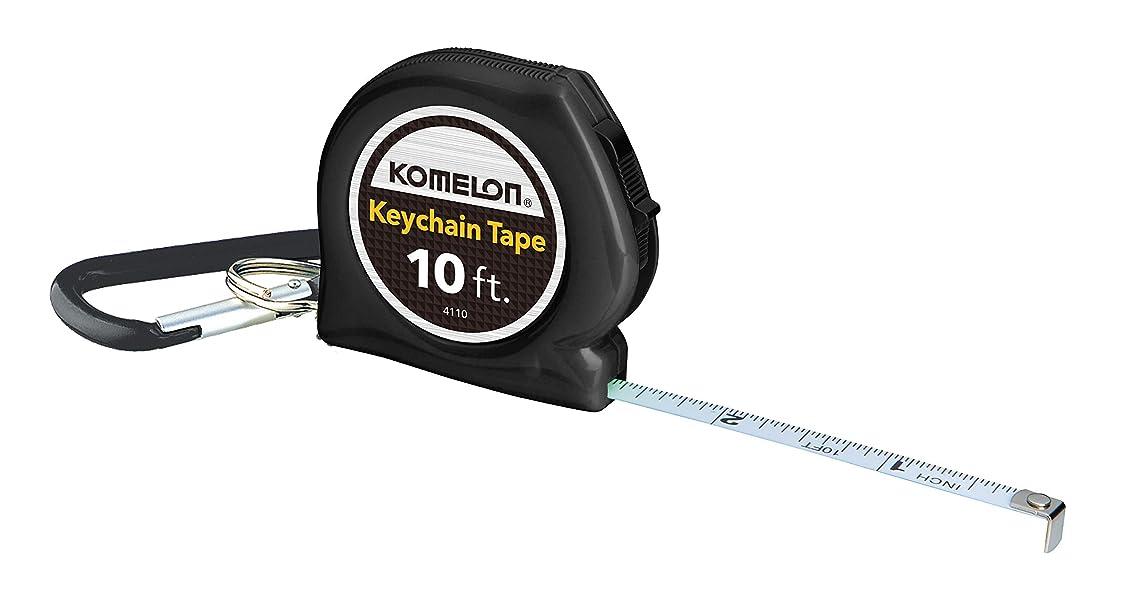 Komelon 4110CS Keychain Tape Measure Acrylic Coated Steel Blade 10 ft by 1/4-Inch, Black