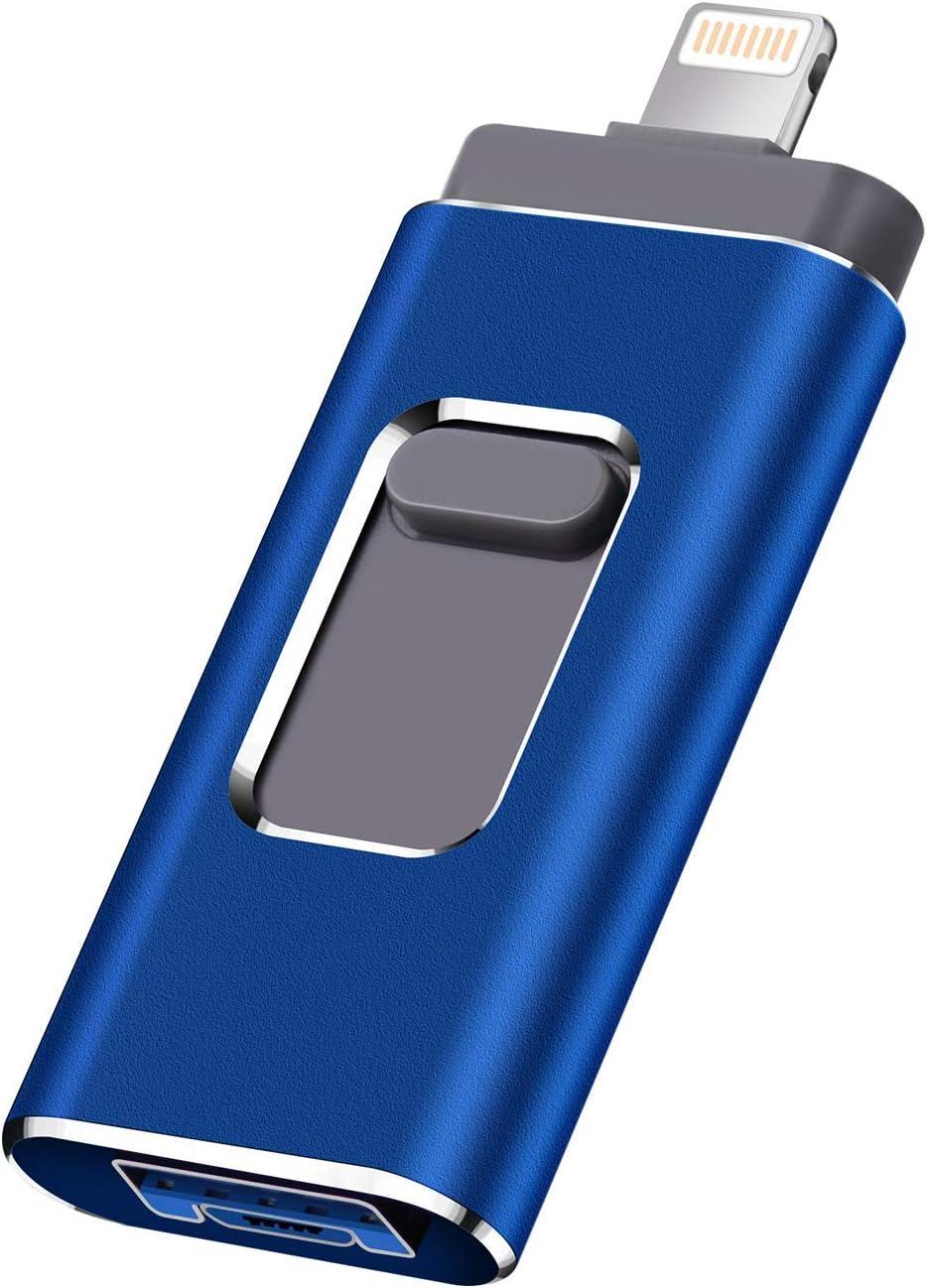USB Flash Drive for iPhone Photo Stick 1TB Memory Stick USB 3.0 Flash Drive Memory Stick for iPhone and Computers (1TB, Blue)