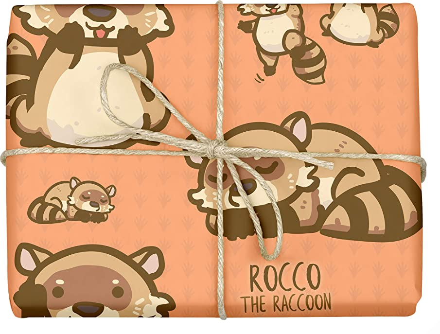 Rocco The Raccoon - Design Gift Wrapping Paper | for Baby Showers, Kids Birthdays, Christmas Gifts | Unique Unisex Print | Wrap A Birthday Parcel & Present | 5 Sheets | 20 x 28 Inches