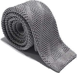 Neweave MILANO- Cravatta a maglia tinta unita con righe diagonali- 100% Seta -Made in Italy