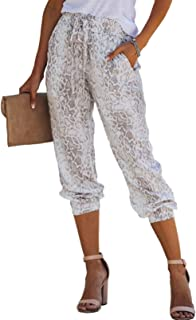 Sponsored Ad - ROSKIKI Women's Drawstring Elastic Waist Casual Comfy Joggers Pants with Pockets