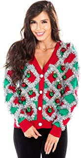 Women's Garland Christmas Sweater - Green and Red Tinsel Ornament Ugly Christmas Cardigan