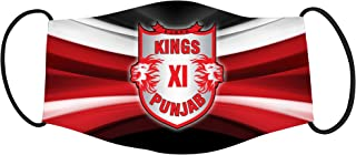 Vista IPL Team Kings XI Mask -Cotton Reusable Washable Mask Size 20x13 cms with adjustable ear loops