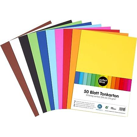 perfect ideaz 50feuilles de papier cartonné A4, carton de bricolage, teinté dans la masse, en 10coloris différents, grammage 210g/m², feuilles à qualité élevé