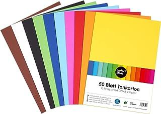 perfect ideaz 50feuilles de papier cartonné A4, carton de bricolage, teinté dans la masse, en 10coloris différents, gram...