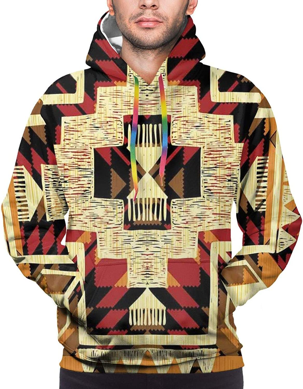 Men's Hoodies Sweatshirts,Native American Classic Retro Feathers Hippie Old Culture Ritual Artwork