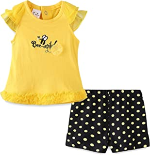 Mud Kingdom Thanksgiving Baby Girl Outfit Lace Top and Short Clothes Set