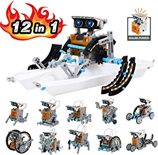 Lucky Doug Solar Robot Kit, 12-in-1 Robot Science Kit Toys for Kids, STEM Educational DIY Assembly Creation Set with Solar Powered Motorized Engine and Gears, Science Experiment Set for Students Teens