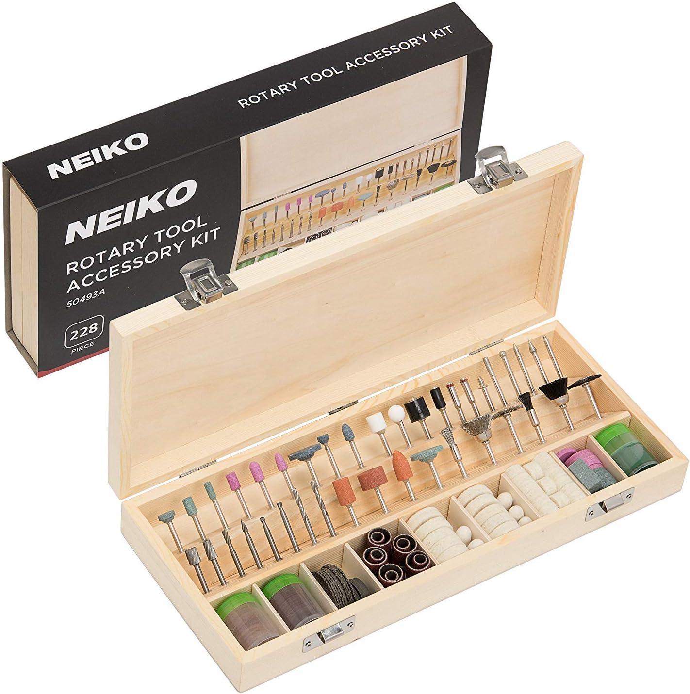 "NEIKO 50493A Rotary Nippon Fashion regular agency Tool Accessory Kit 1 228 Piece 8"" S"