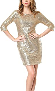 Best gold sequin dress with sleeves Reviews