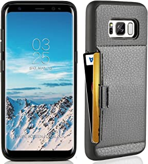 ZVE Case for Samsung Galaxy S8, 5.8 inch, Slim Leather Wallet Case with Credit Card Holder Slot Pocket Protective Functional Case Cover for Samsung S8, 5.8 inch 2017 - Black