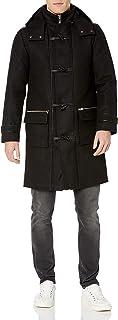 معطف دفيل رجالي من الصوف الإيطالي هنري مع حواف من جلد الخراف