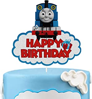 LYNHEVA Glitter Thomas and Fiends Happy Birthday Cake Topper, Thomas The Tank Engine Cake Topper, Steam Train Theme Birthd...
