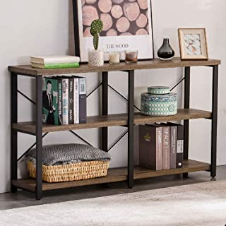 GRELO HOME Rustic Entryway Table, Tv Console Table with Storage Shelf,Metal and Wood Entry Table, Industrial Sofa Table for Living Room, Oak 55 Inch