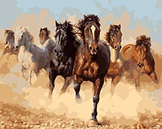 Paint by Numbers for Adults Canvas DIY Oil Painting, Paint by Number Kit 16x20 inch-Speeding Horses (Wooden Framed)