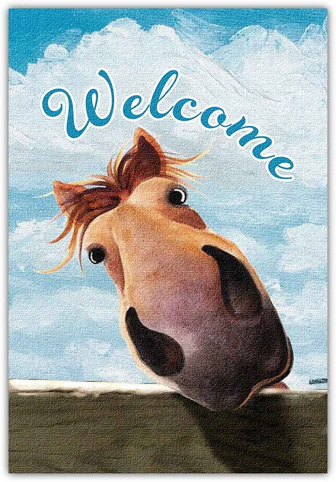 Welcome Garden Farm Flag, Welcome To the Horse Farmhouse, Yard Flag for Outside, Garden Banner Decorations Decor Vertical Double Side 12x 18 Inches